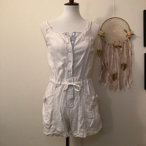Free People Ivory Cotton Romper Shorts